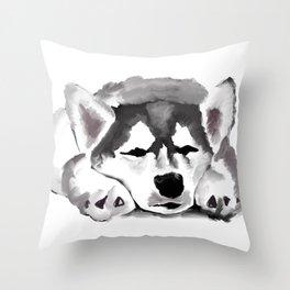 Sleepy Husky Throw Pillow