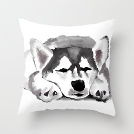 Sleepy Husky Throw Pillow
