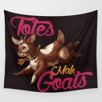 totes Wall Tapestries featuring Totes Mah Goats (Dark Version) by Alex Boake Illustration