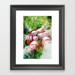 Converse and Flower Framed Art Print