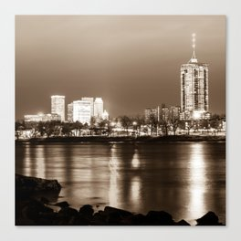 Downtown Tulsa Cityscape Skyline - Sepia Edition - Square Format Canvas Print