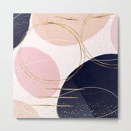 Modern Gold Strokes & Circles Minimal Pink Design Metal Print