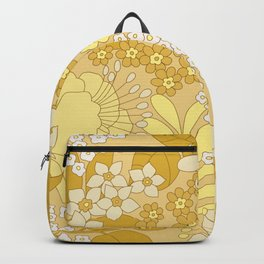 Yellow, Ivory & Brown Retro Floral Pattern Backpack
