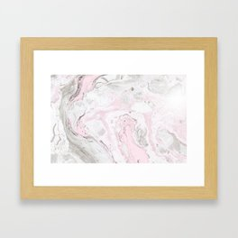 Peaceful Pink Gold & Gray Marble Print Framed Art Print