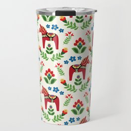 Swedish Dala Horses Red Travel Mug