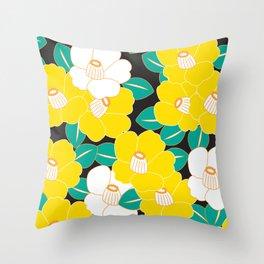Shades of Tsubaki - Yellow & Black Throw Pillow
