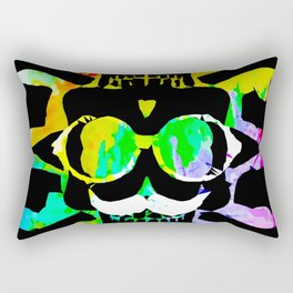 old vintage funny skull art portrait with painting abstract background in green yellow pink blue Rectangular Pillow