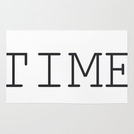 TIME Minimalist Black and White Words  Rug