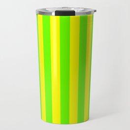 Super Bright Neon Yellow and Green Vertical Beach Hut Stripes Travel Mug