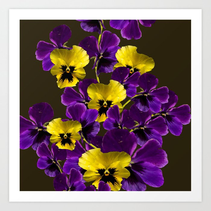Purple And Yellow Flowers On A Dark Background Decor Art Society6 Print By Pivivikstrm
