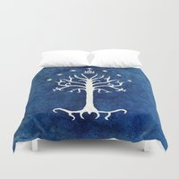 tolkien Duvet Covers featuring The White Tree by Jackie Sullivan