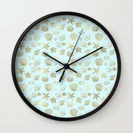 Blue Mint Gold Sea Shells Wall Clock