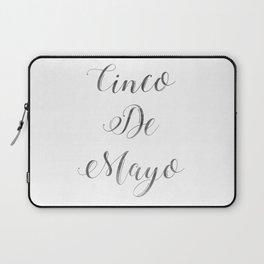 Happy Cinco De Mayo Black and white Typography Laptop Sleeve