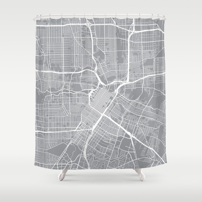 Houston Map, Texas USA - Pewter Shower Curtain by ...