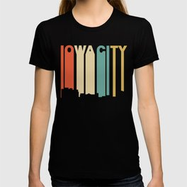 Retro 1970's Style Iowa City Iowa Skyline T-shirt