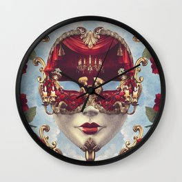 Floral Decadence - Red & Gold Venetian Mask Wall Clock