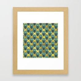 Decorative Hamsa Hand pattern on gold Framed Art Print