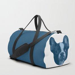 I love my dog - French Bulldog, blue Duffle Bag