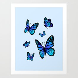 Butterfly Blues | Blue Morpho Butterflies Collage Art Print