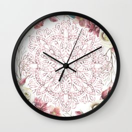Mandala Garden Roses Warm Rose Gold Wall Clock
