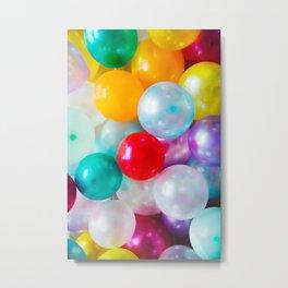 Rainbow Birthday Balloons Metal Print