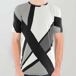 Geometric Line Abstract - Black Gray White All Over Graphic Tee