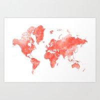 Living coral watercolor world map Art Print