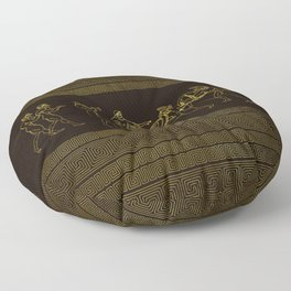 Ancient Sparta  Greece scene on greek pattern Floor Pillow