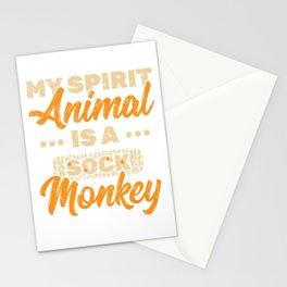 My Spirit Animal Is A Sock Monkey T-shirt Design With Long Tail, Limbs And A Bright Red Lips  Stationery Cards
