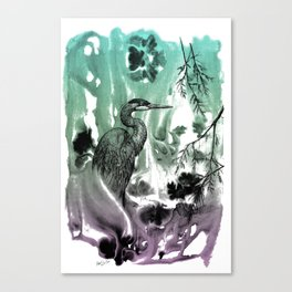 Blue Heron in Pen and Ink Canvas Print