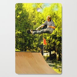 Flying High on Skateboard Ramp at the Park Cutting Board