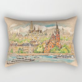 Castle and churches on riverside with boats Rectangular Pillow