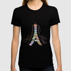 Macarons from Paris Black Womens Fitted Tee SMALL