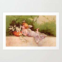 Vintage Garden Fairy Art Print