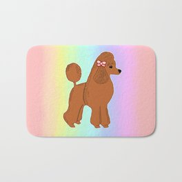 Red Poodle with Pastel Rainbow Bath Mat