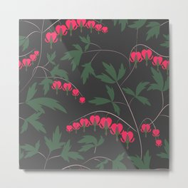 Retro. Floral pattern on a grey background . Metal Print