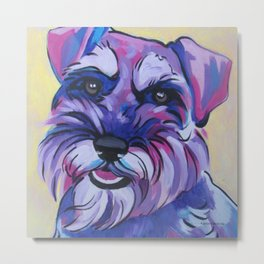 Schnauzer Pop Art Pet Portrait Metal Print