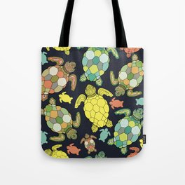 Colorful happy turtles. Tote Bag