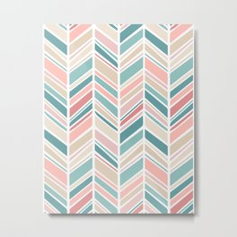 Herringbone Pattern - Cream Coral and Teal Metal Print