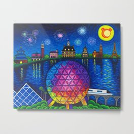 Starry Night Over Epcot Metal Print