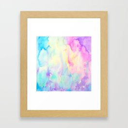 Watercolor Abstract Landscape Blue and Purple Framed Art Print