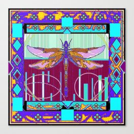 Western Dragonfly Purple-Turquoise Art abstract Canvas Print