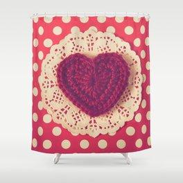 Red Crochet Heart Shower Curtain