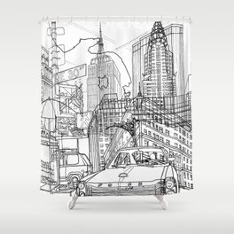 New York! B&W Shower Curtain