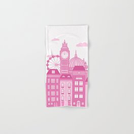 London Skyline Pink Hand & Bath Towel