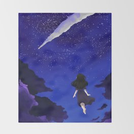 Behold the Galaxy - Anime Girl looking at the Stars Throw Blanket