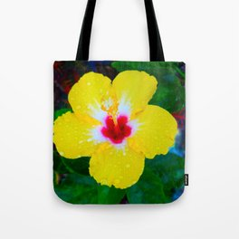 Rain Kissed Yellow Hibiscus Tote Bag