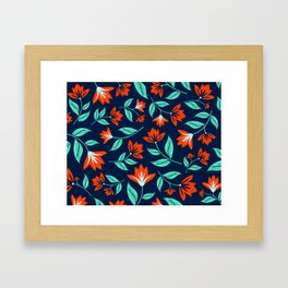 Japanese Floral Print - Red and Navy Blue Framed Art Print