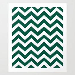 Castleton green - green color -  Zigzag Chevron Pattern Art Print