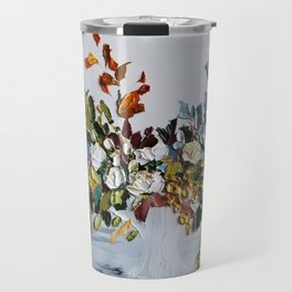 Autumn Flowers and Leaves Bouquet Travel Mug
